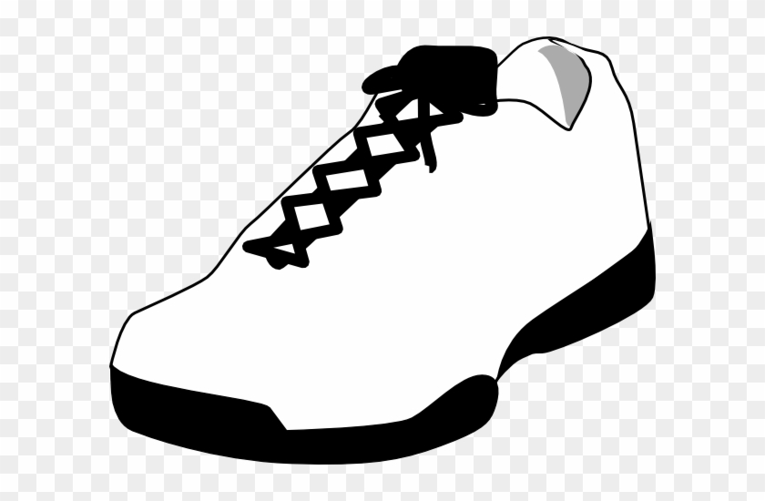 Tennis Shoe Shoe Outline White Clip Art At Vector Clip - Black And White Shoe #58466