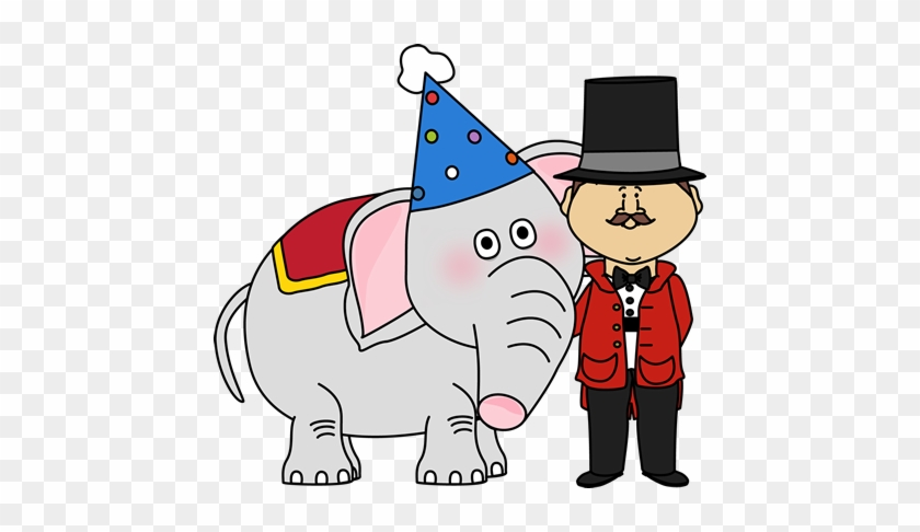 Circus Elephant And Ringmaster - Circus Elephant Clipart #58794