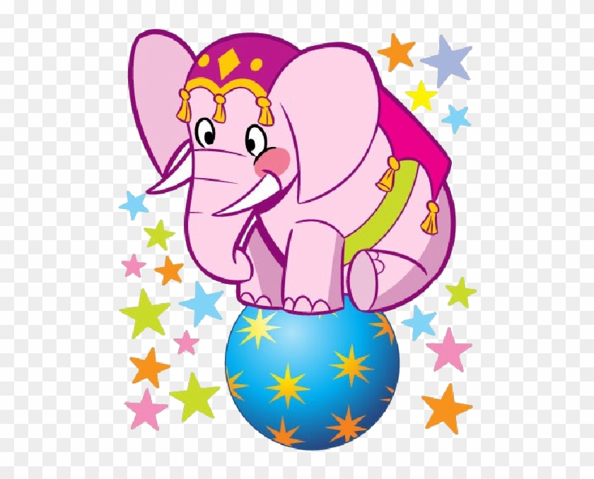 Elephant Cartoon Images - Pink Circus Elephant Clipart #58836