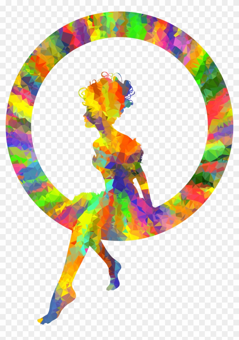 Poly Splash Of Color Fairy Sitting In A Circle Silhouette - Color Splash Transparent Png #58858