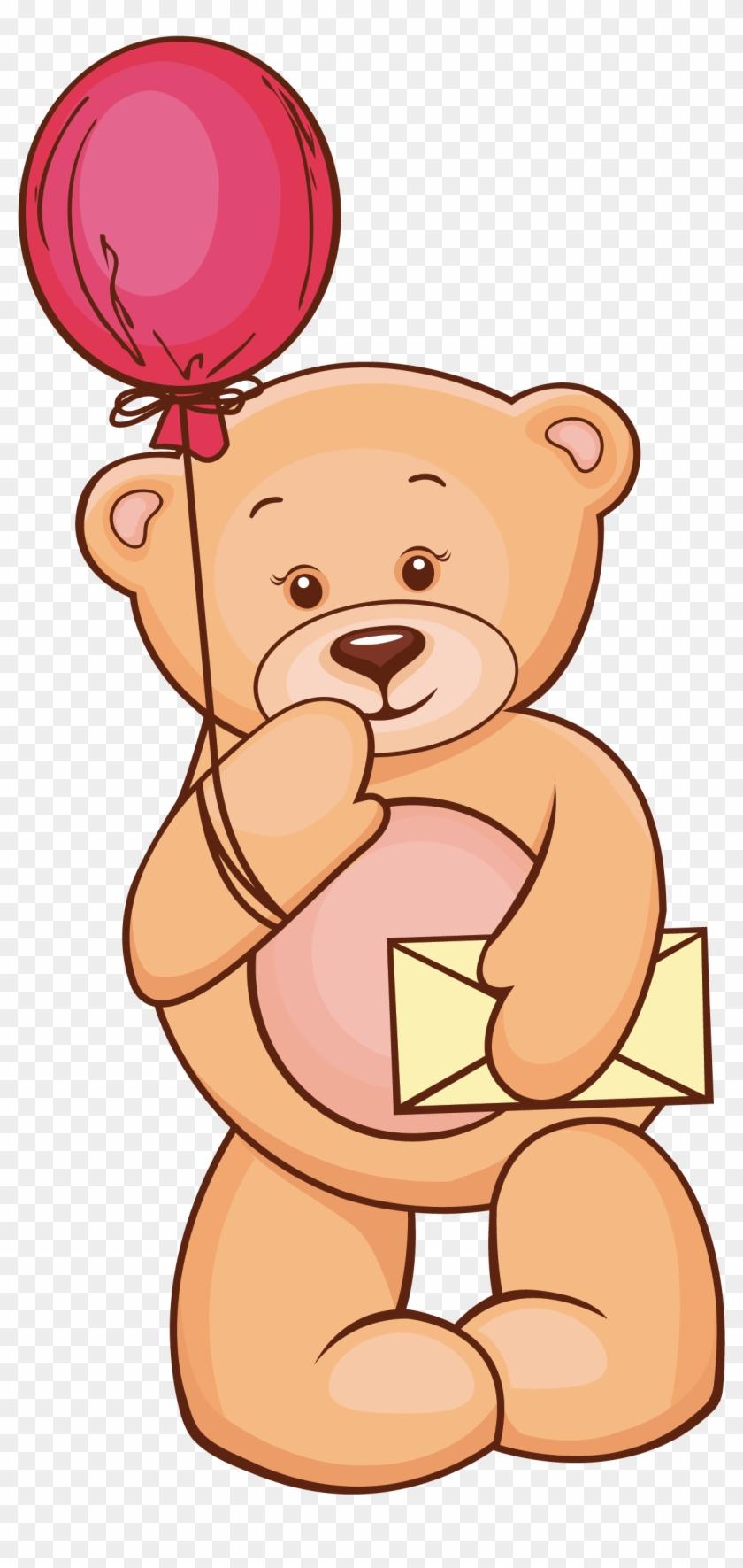 Teddy Bear And Balloon Vector Free #59160