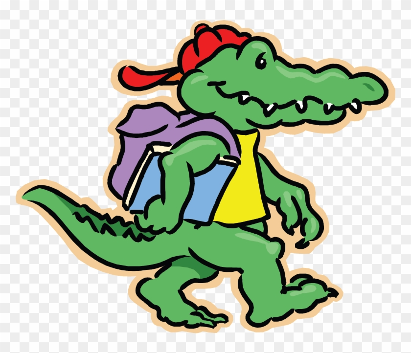 Groves Gators - Alligator With Backpack Clipart #59428
