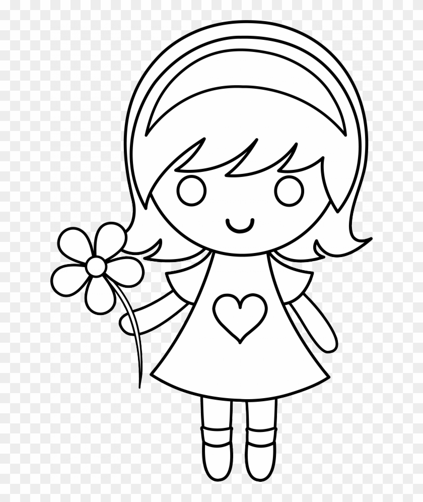 Daisy Girl Colorable Line Art Free Clip Art 217087 - Drawing For Little Girls #59534
