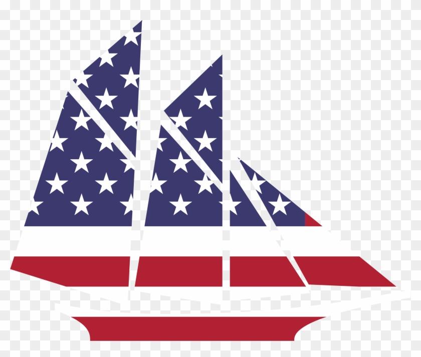 Big Image - American Flag Sailboat Clipart #59904