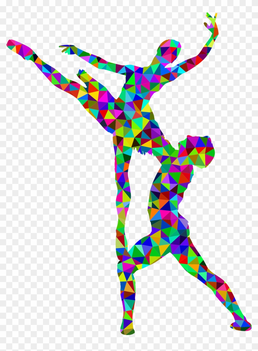 Prismatic Low Poly Woman And Man Ballet Silhouette - Men Ballet Silhouette Colorful #59971