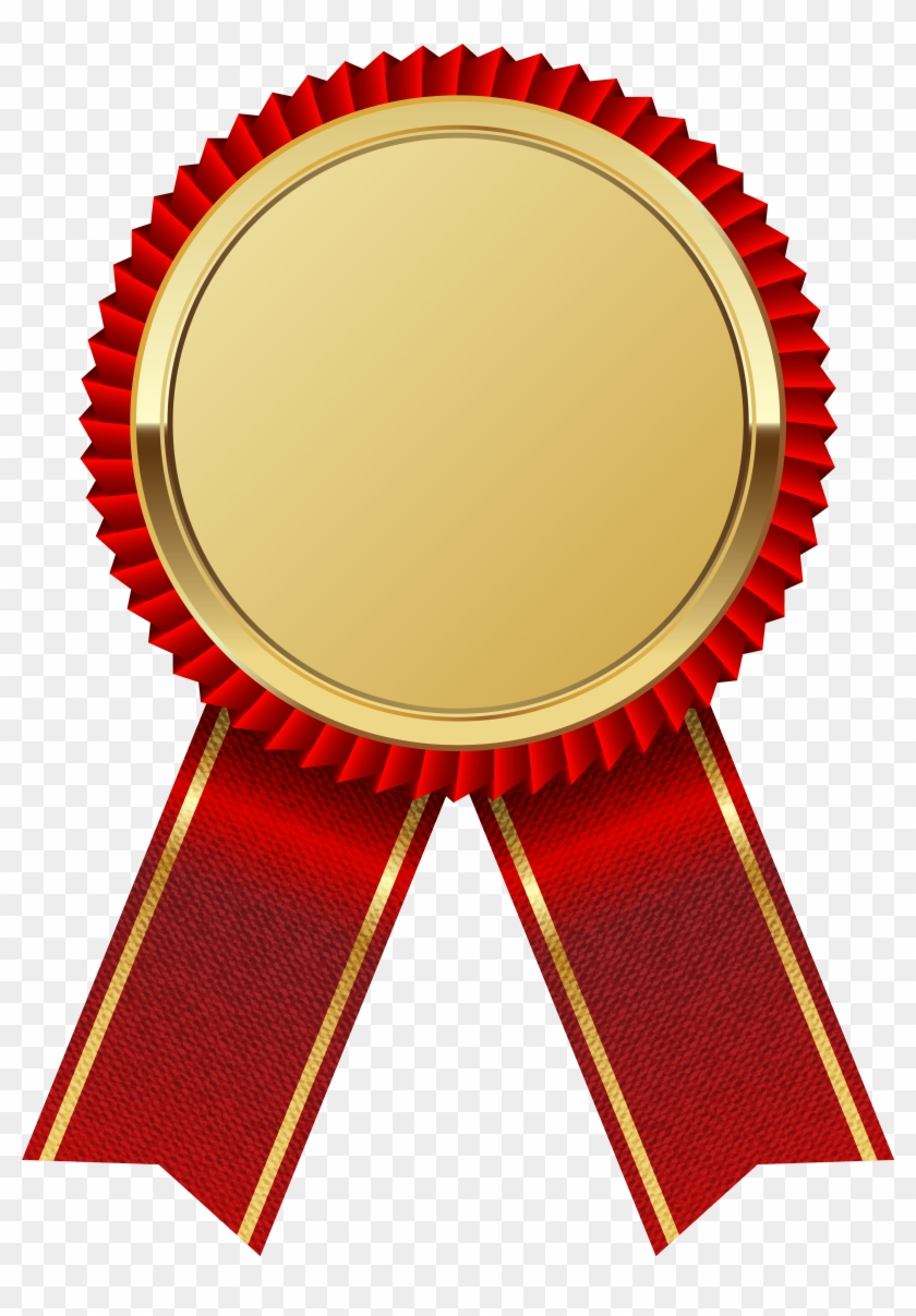Gold Medal With Red Ribbon Png Clipart Image - Seal And Ribbon Png #60384