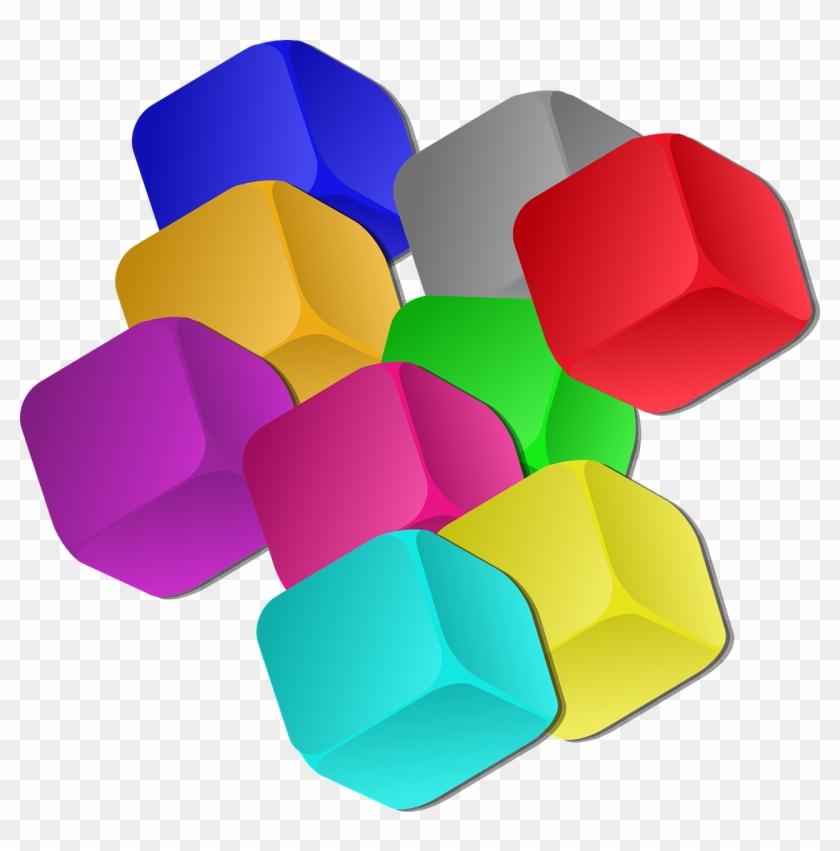 Boxes Dice Rainbow Colors Transparent Image - Cubes Clipart #60524