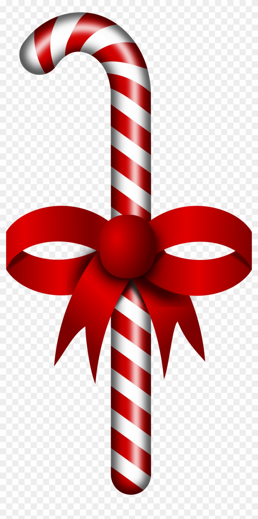 Candy Cane Stick Clipart - Candy Cane With Ribbon Clipart #60540