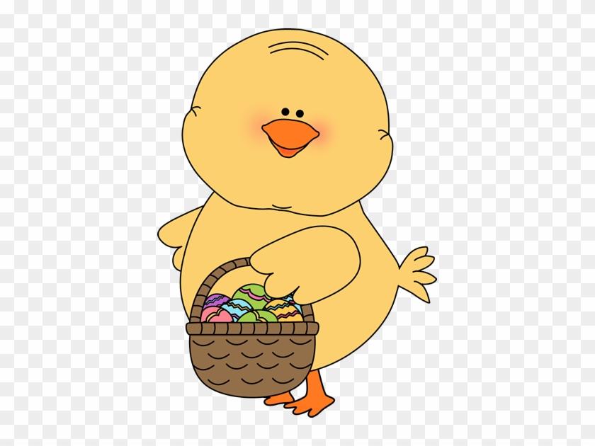 Chick Carrying Easter Basket Clip Art - Easter Chicks Clip Art #60781