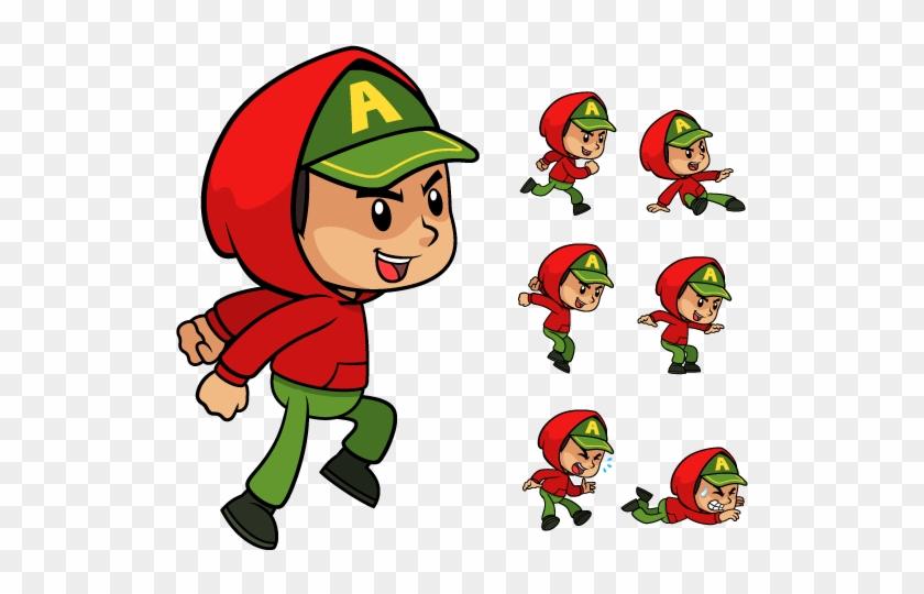 Red Hoodie Boy Game Sprites - 2d Character Hoodie - Free
