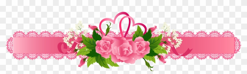 Decorative Pink Ribbon With Roses Png Clipart Gallery Pink Flowers