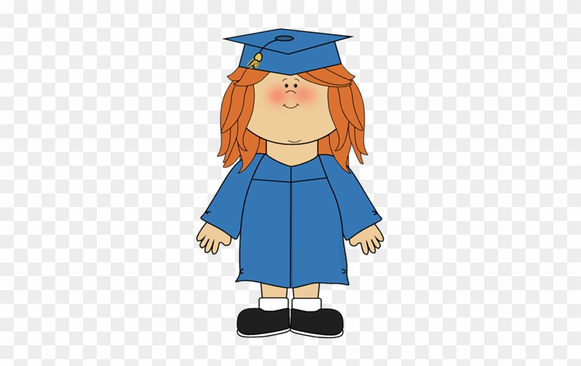 Girl Wearing Graduation Cap And Gown Clip Art