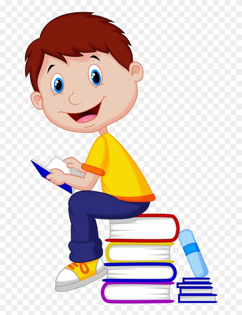 Wall Murals And Wallpaper Murals Of Boy Reading Book - Boy With Book Cartoon #310169