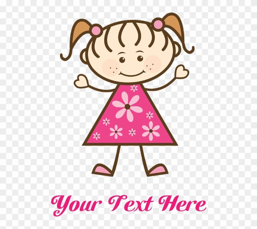 Pink Stick Figure Girl Tile Coaster - Happy Birthday Aunt Cartoon #311371