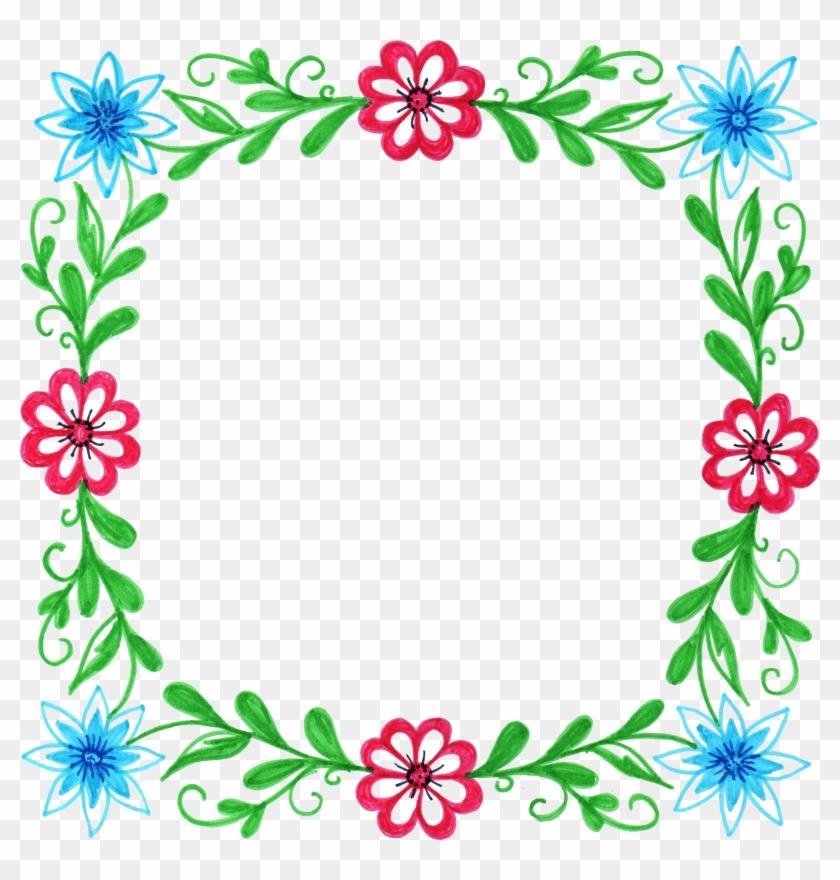 Watercolour Flower Frame Border Clip Art Graphic Design - Floral Square Frame Png #312131