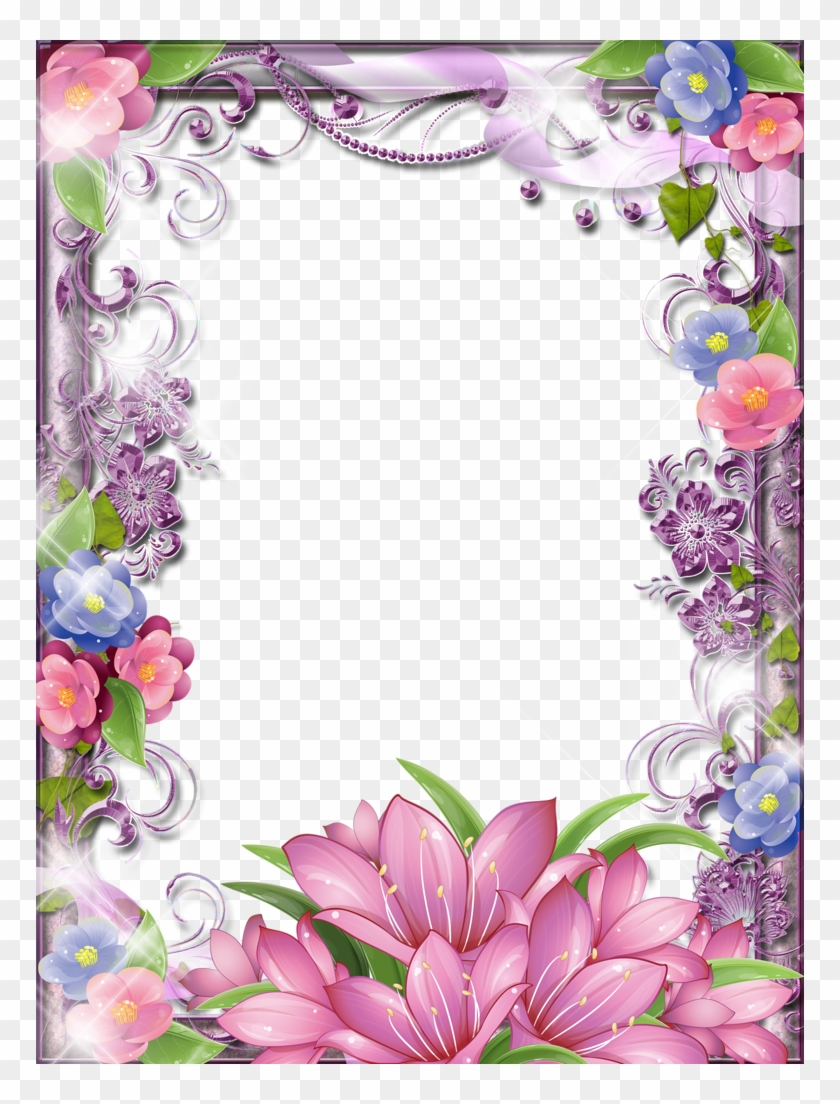 Purple Flower Clipart Glitter Beautiful Borders For Projects