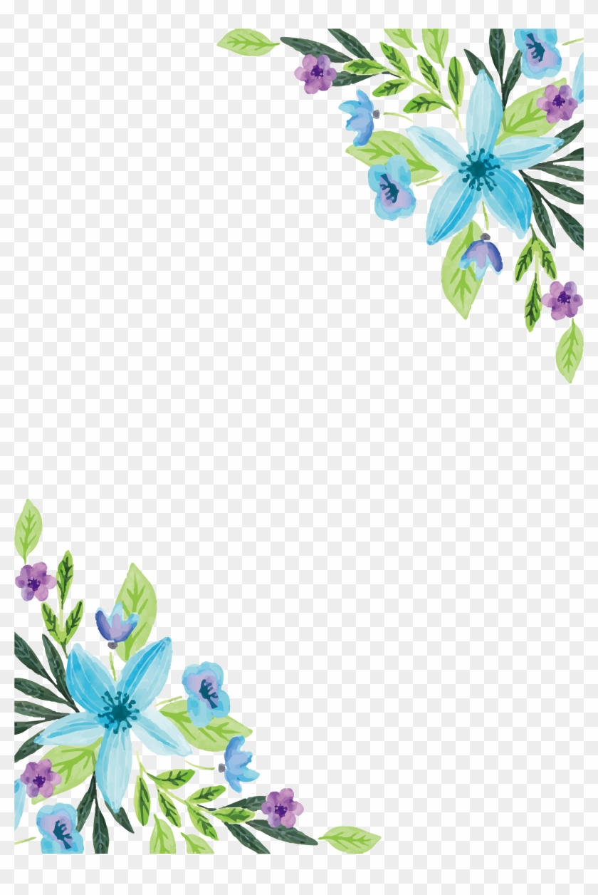 Watercolor painting flower floral design water color blue flower border png