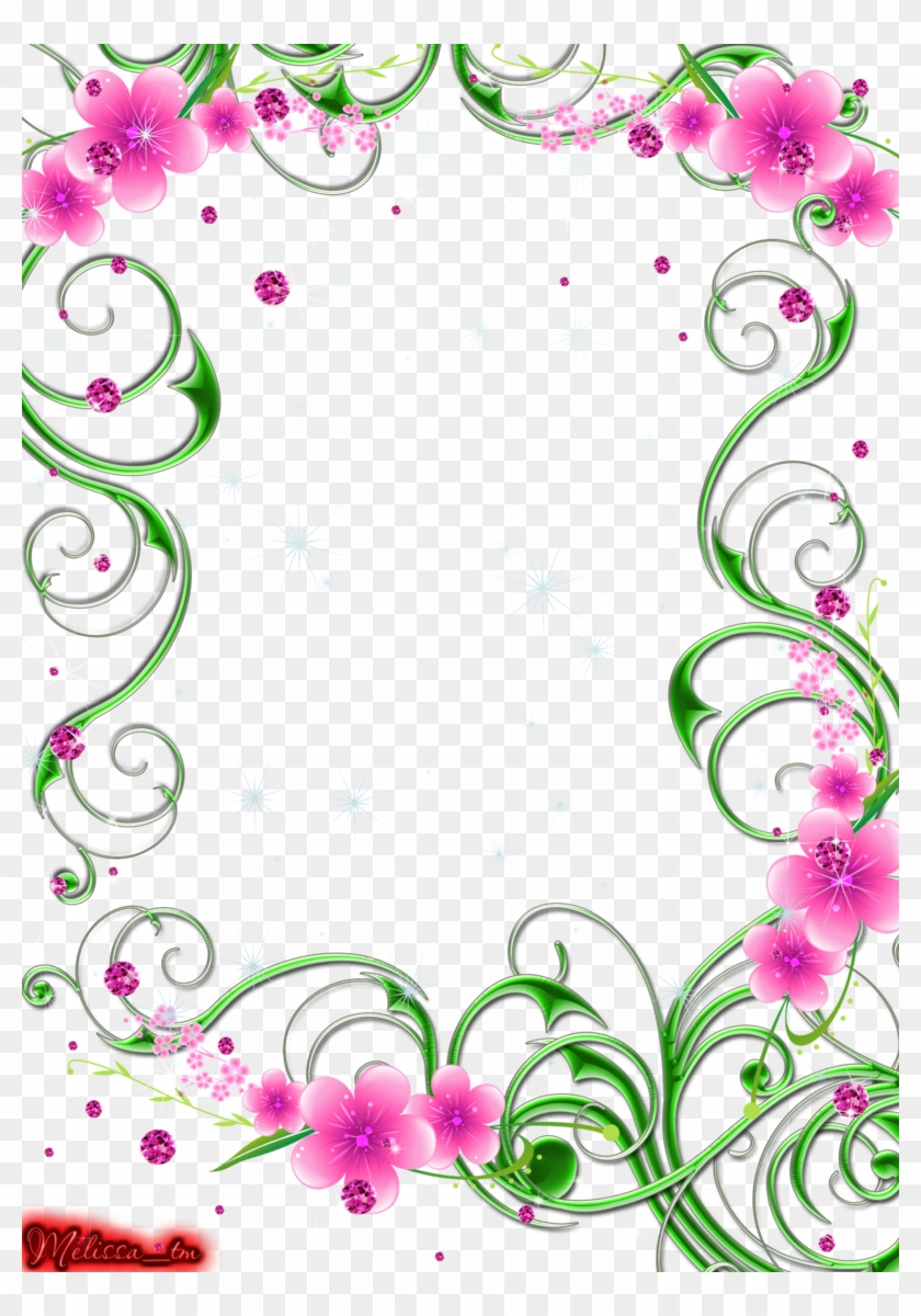 Green Swirls With Pink Flowers And Gems Png By Melissa Tm Pink And