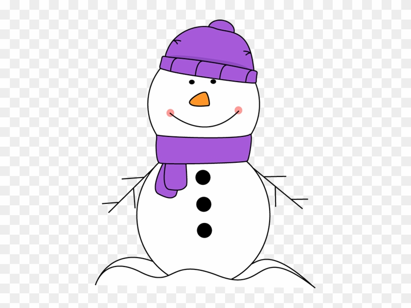 Snowman Wearing Purple Scarf And Hat - Snowman With Purple Scarf #312795
