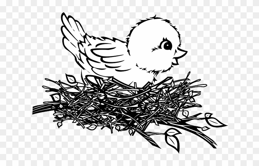 Black And White Train - Bird In Nest Drawing #313482