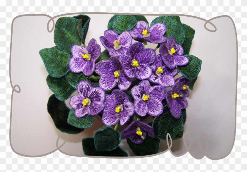 Purple African Violets - 3d Flowers Embroidery Designs #313577