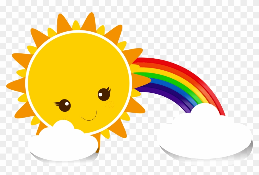 Sky Cartoon Yellow - Rainbow With Cloud Png - Free
