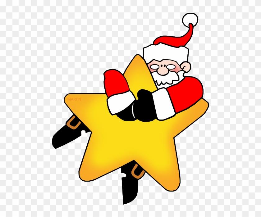 Santa On A Star - Christmas Star Clip Art #314567