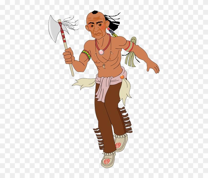 Axe, Indian, Running, Warpath, Man, Fighter - Wild West Indian Mohawk #315108