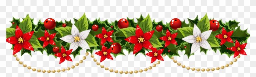 Christmas Decoration Poinsettia Garland Clip Art Christmas