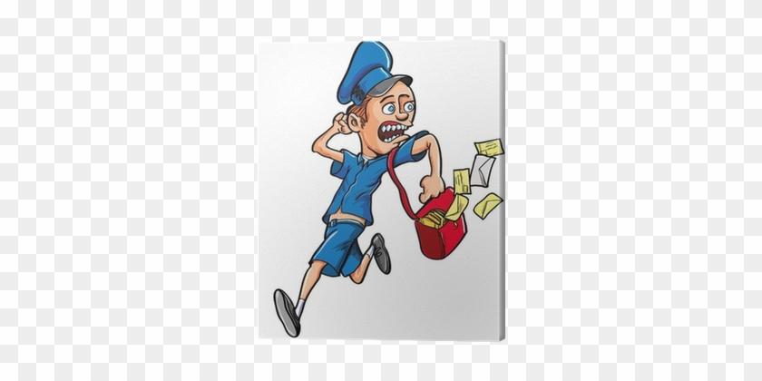 Cuadro En Lienzo Cartoon Cartero Corriendo Con La Bolsa - Mailman Running #315827