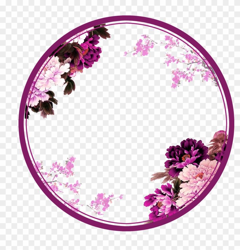 purple chinese wind flower circle border texture flowers
