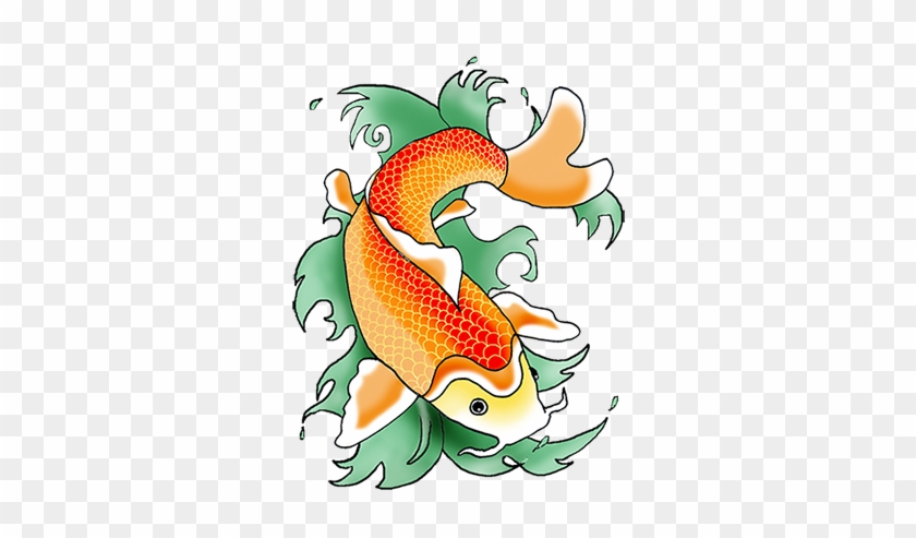 Clipart Of Koi Fish Drawing Pencil And In Color - Koi Fish Clipart #318409