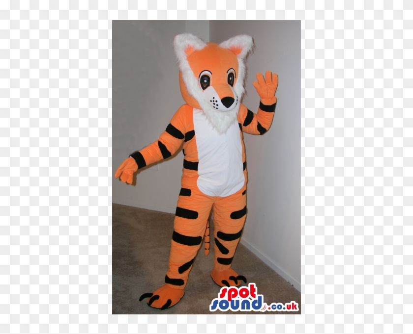 Customizable Cartoon Orange And White Tiger Plush Mascot - Grey Elephant Animal Spotsound Ltd Mascot Costume #319537