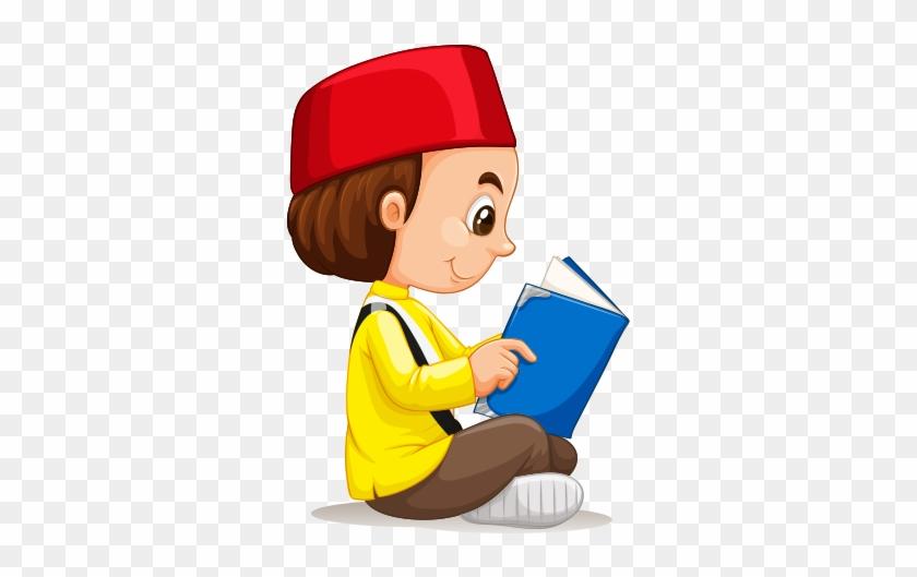 Clipart Oturarak Bilgisayar Çalışan Kız Çocuğu - Muslim Boy Clipart #319892