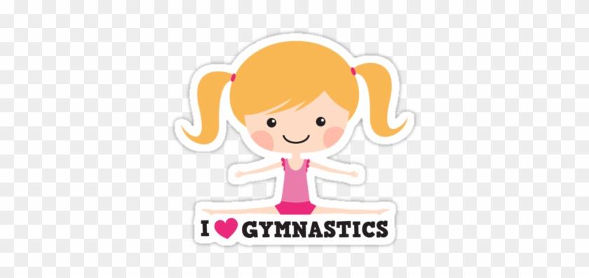 'i Love Gymnastics Cute Blond Cartoon Girl Doing The - Cartoon Girl Doing Gymnastics #320616