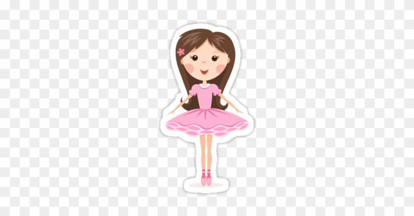 'cute Ballerina Girl In Pink Tutu Stickers' Sticker - Cartoon Long Hair Ballerina #320636