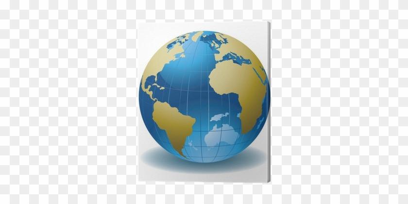 World Globe Abstract Vector Illustration Canvas Print - Iridium 300