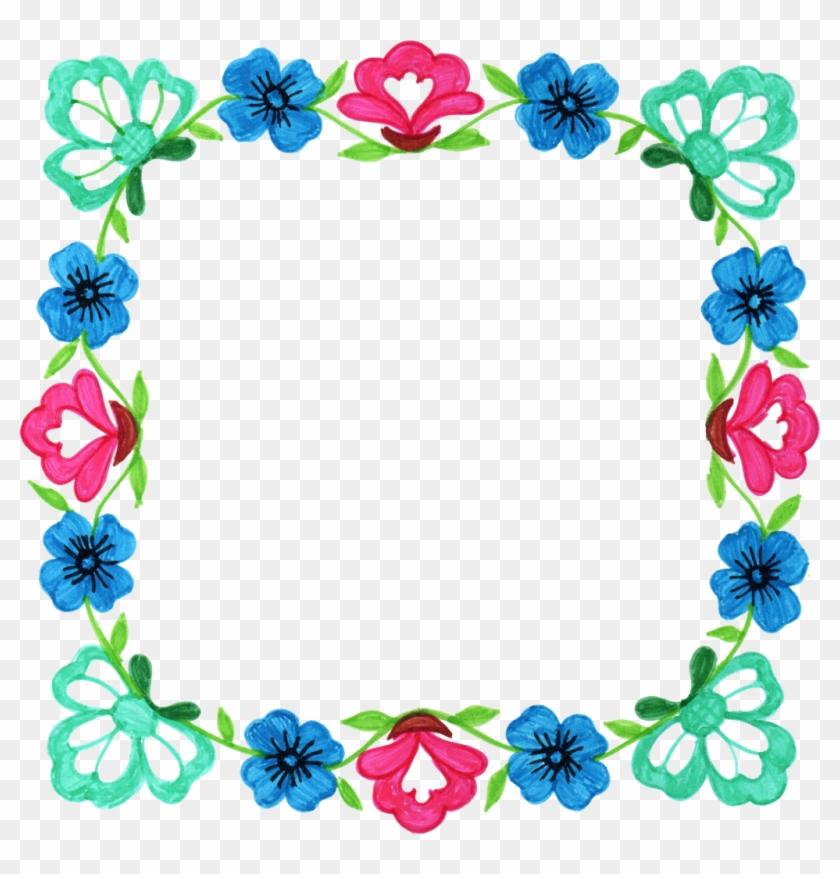Flower Picture Frames Floral Design Square Clip Art - Flower Frame Free Square #320870