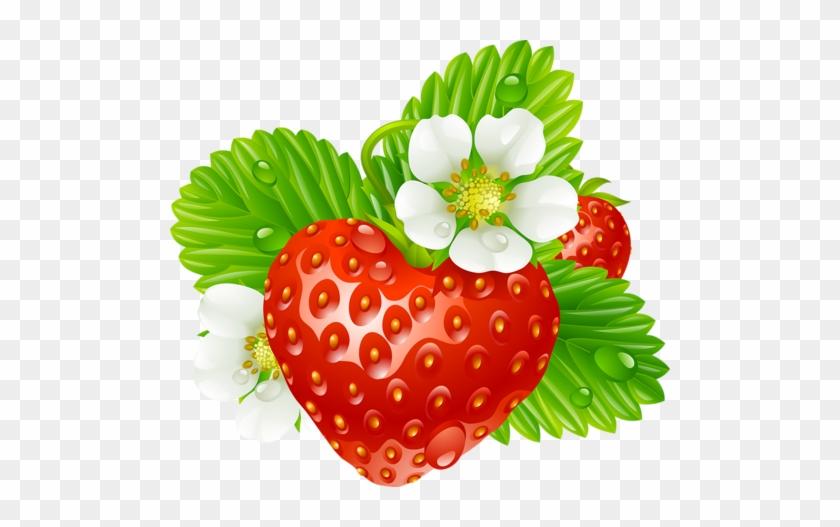 Vector Strawberry In The Shape Of Heart And White Flowers - Клипарт Клубника На Прозрачном Фоне #321247