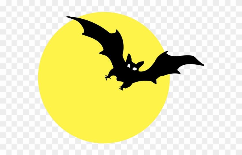 Moon With Bats Halloween Cartoon Clip Art - Happy Birthday Halloween Text #322242