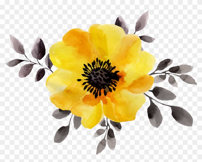 Flower Yellow Watercolor Painting Stock Illustration - Yellow Watercolor Flower Png #322700