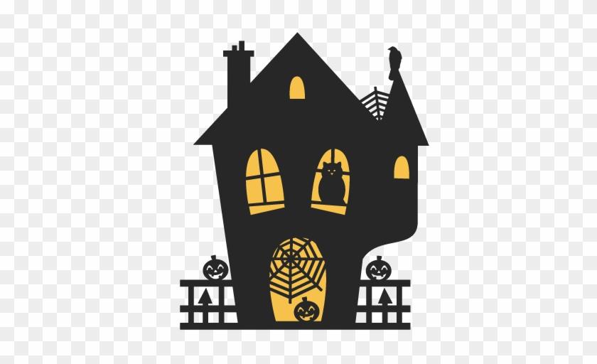 Nice Haunted House Silhouette Clip Art Spooky House - Spooky Cute Halloween House #322835