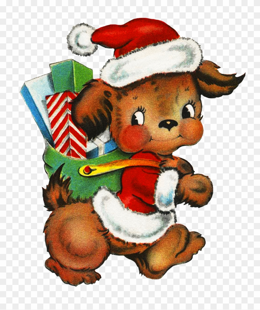 Cute Dog Delivering Christmas Presents Cartoon Free Transparent