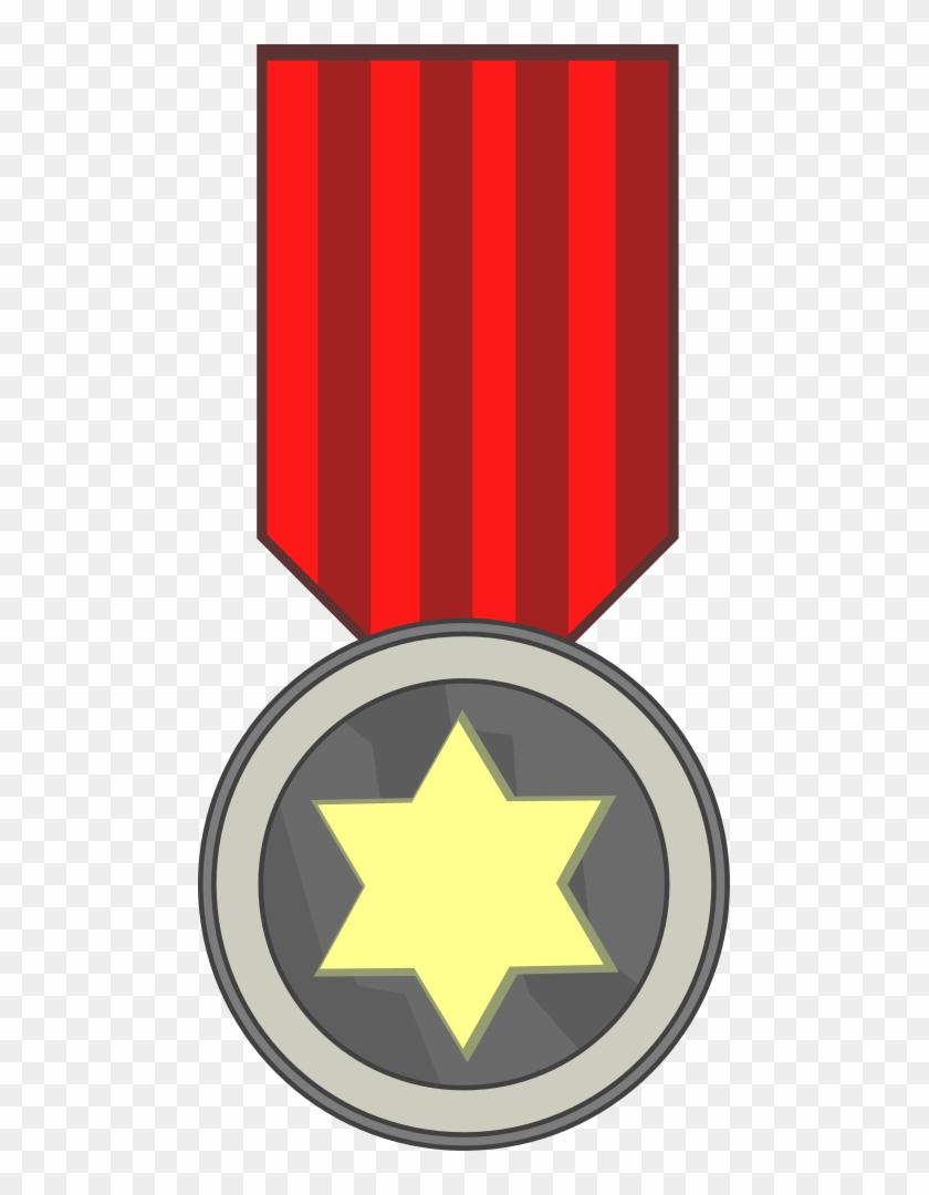 Vector Clip Art Of Star Award Medal On Red Ribbon - General Medal Clipart #324089