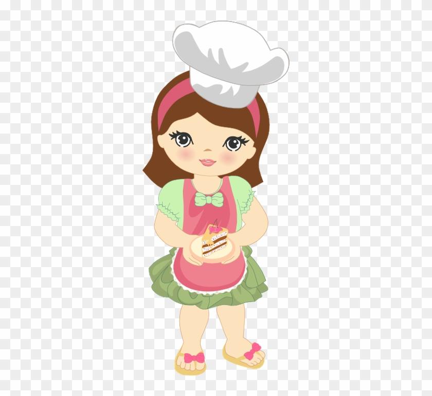 Cute Clipart Girl Baking Minus - Desenho De Boneca Cozinheira #324266
