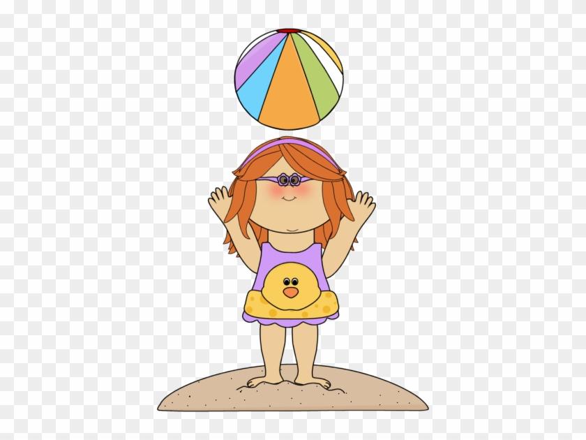 Summer Kids Clip Art - Girl With Beach Ball Clipart #324280
