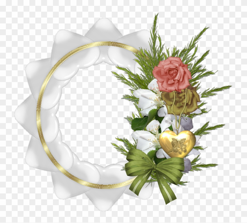 Gold Transparent Round Frame With White Hearts And - White Rose ...