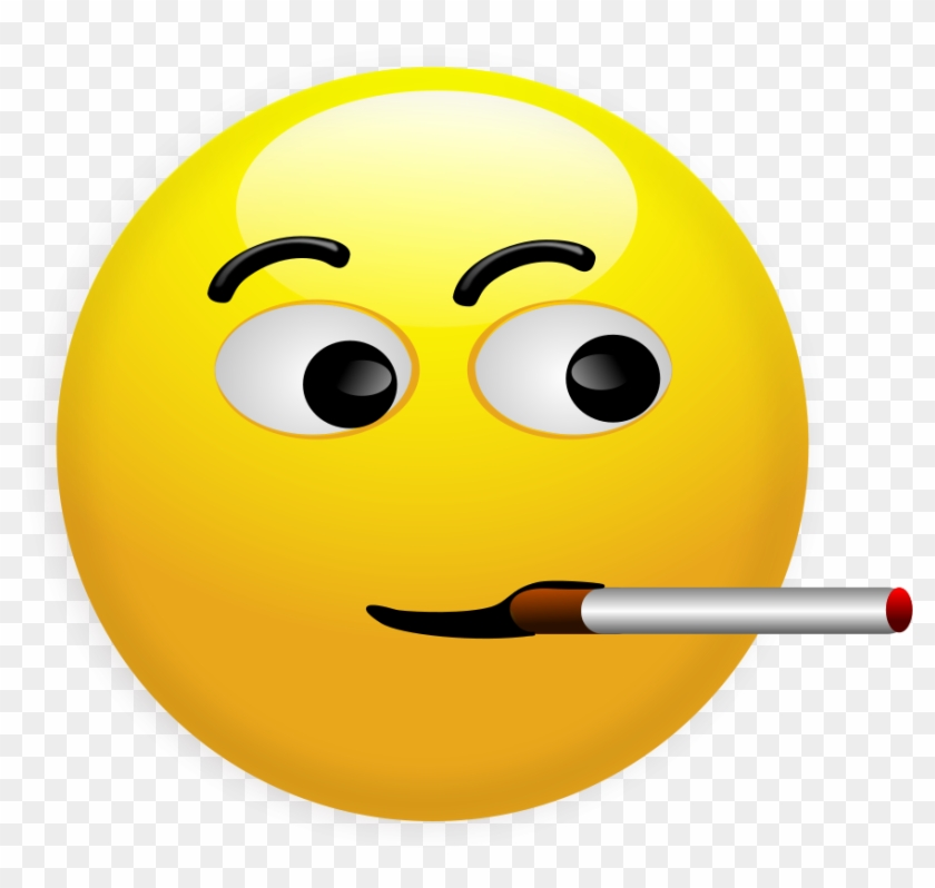 Pin Smiley Face Clip Art Emotions - Smoking Smiley Face #325999