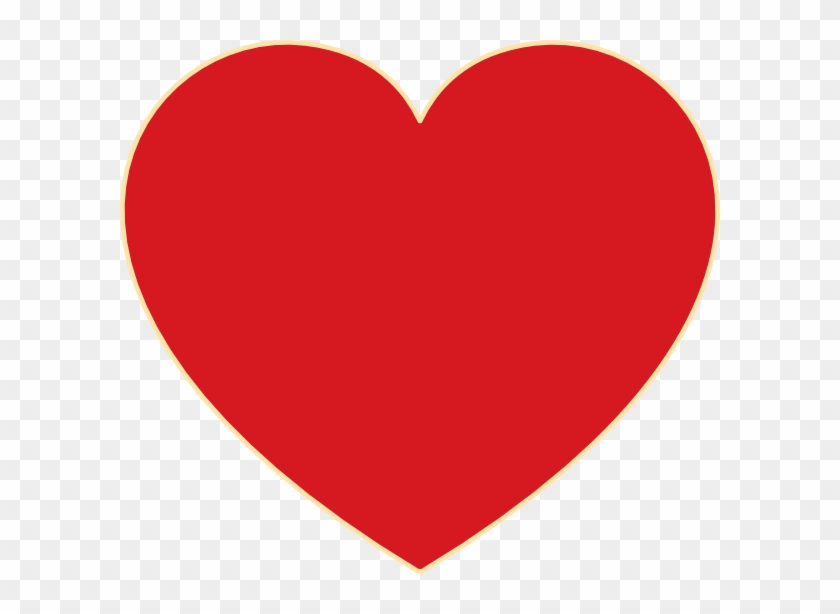 Red Heart With Ochre Outline Clip Art - Love Heart #326307