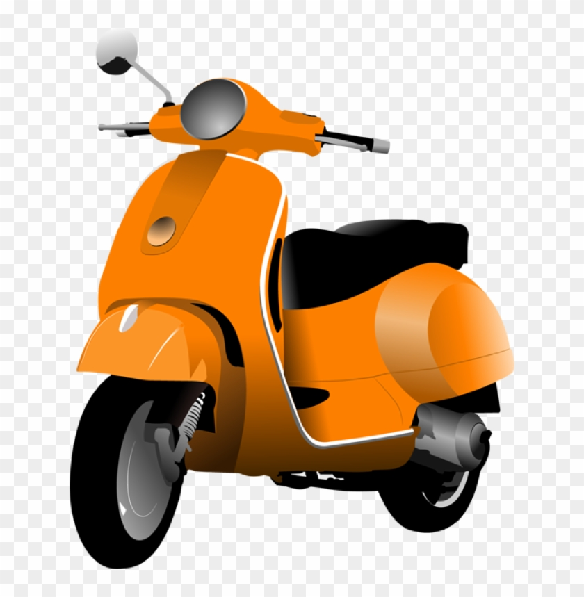Clip Art Of A Motor Scooter - Moped Clipart #328422